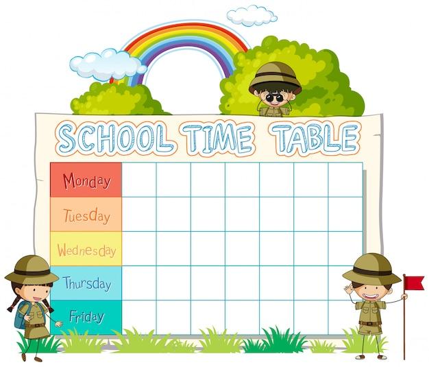 キャラクターと時刻表学校計画