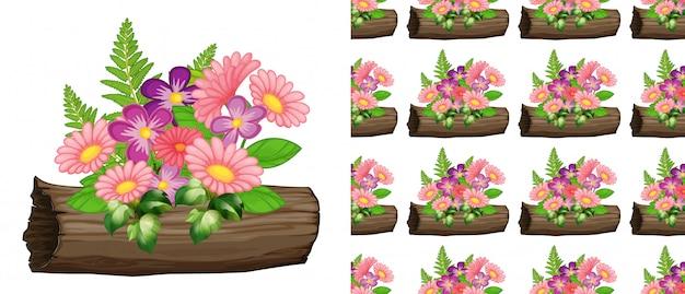 ピンクのガーベラの花とのシームレスな背景デザイン