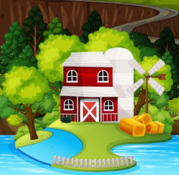 赤い納屋の自然シーン