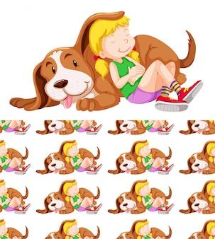 女の子と犬とのシームレスな背景デザイン