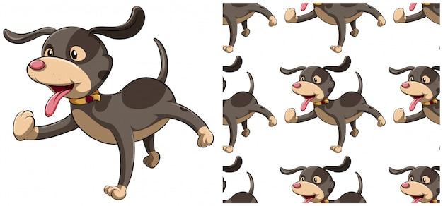 犬白で隔離のシームレスパターン