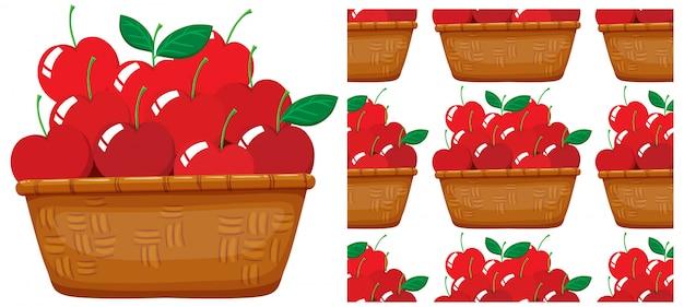 白で隔離されるシームレスなリンゴパターン