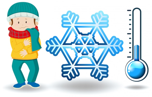 冬の服の男と冬のテーマ