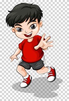 赤いシャツで幸せな少年