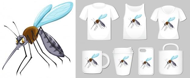 さまざまな製品テンプレート上の蚊の図