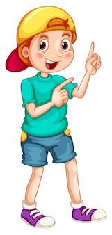彼の指を指しているキャップを持つ少年