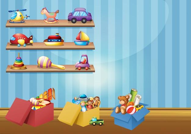 Много игрушек на полках и на полу