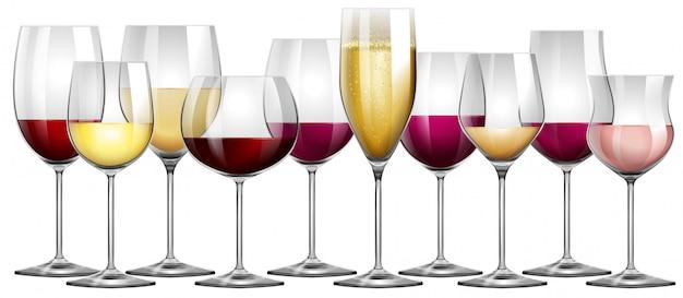 赤と白ワインで満たされたワイングラス