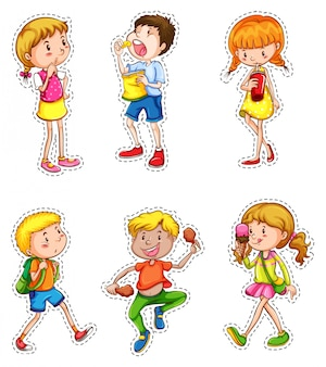 さまざまなアクションセットの子供たち