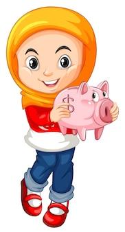 貯金箱を保持している小さな女の子