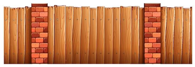 Деревянный забор и кирпичные столбы