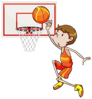Человек стреляет в баскетбол в обруч