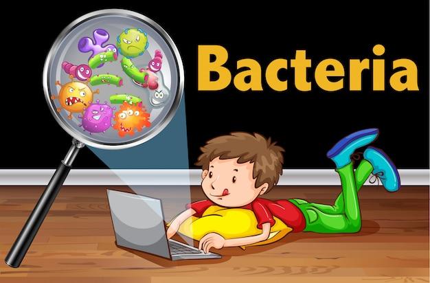 コンピューターのラップトップ上の細菌