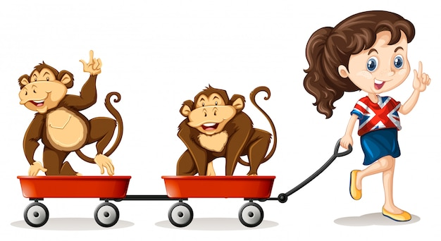 Девушка тянет обезьян на телегах