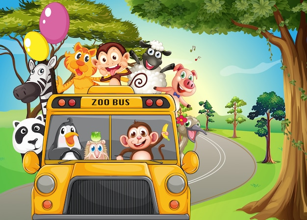 動物園の動物でいっぱいのバス