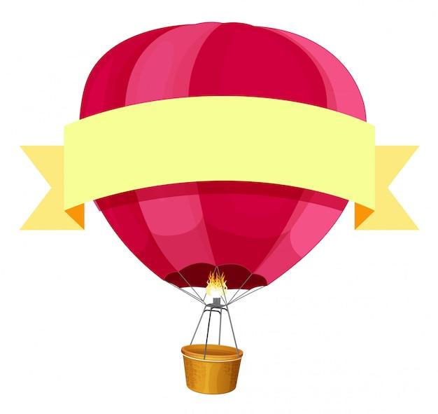 赤い熱気球と黄色のリボン