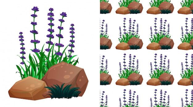 ラベンダーの花とトーンパターン