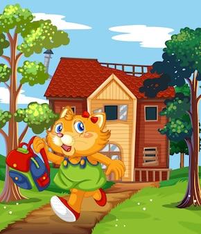 古い家から走っている猫