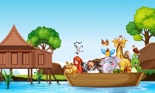 Много симпатичных животных гребная лодка