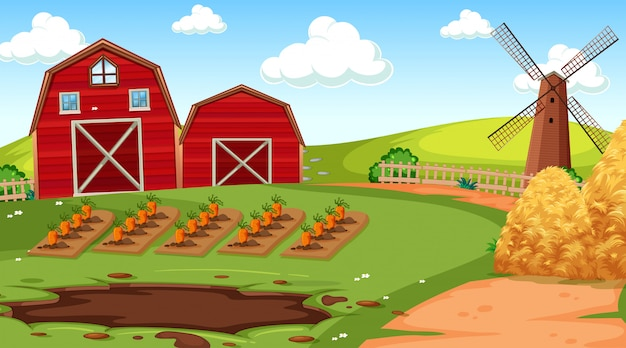 納屋と自然の農場のシーン