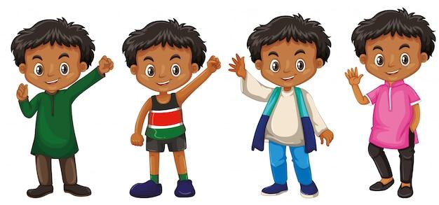 Мальчик с счастливым лицом в разных костюмах