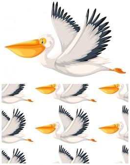 Пеликан бесшовный узор на белом