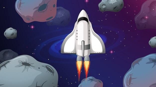 Космический корабль летит через астероиды