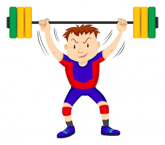 Человек делает тяжелую атлетику на белом