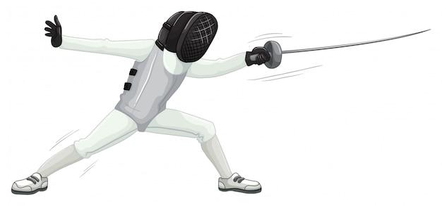 Спортсмен в форме делает фехтование