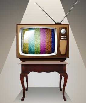 テーブルの上のテレビ