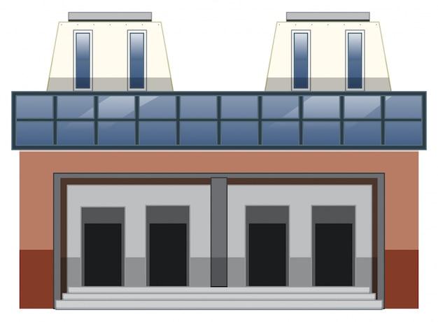 Здание с дверями и лестницей на белом