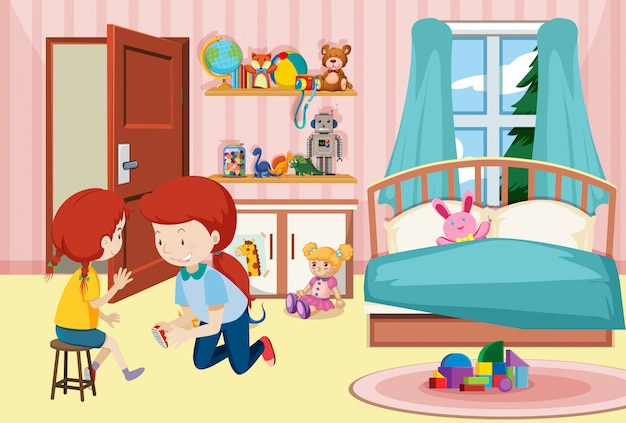 寝室で母と娘