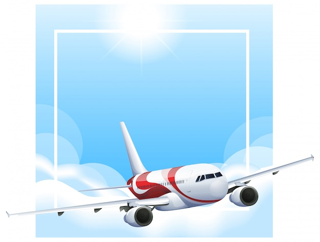 空を飛んでいる飛行機と枠線テンプレート