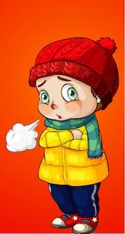 少年は冬の服を着る
