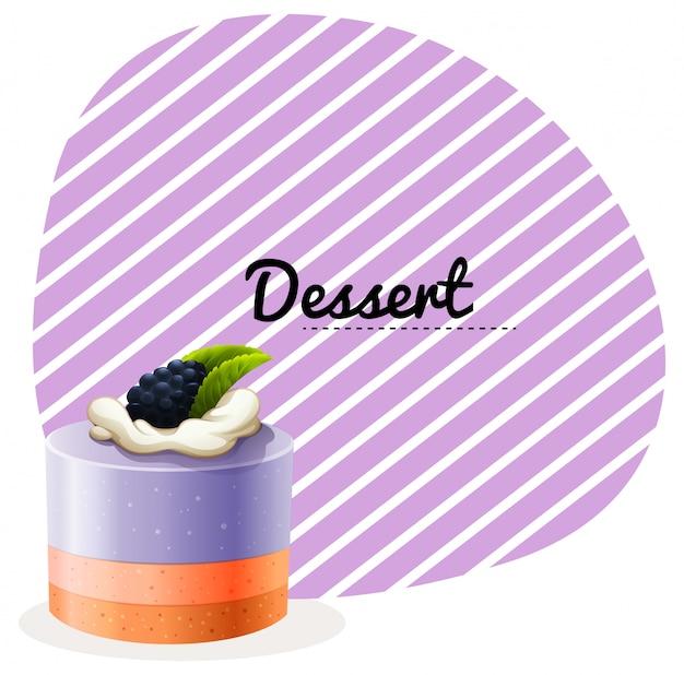 ブルーベリーケーキとテキストデザイン