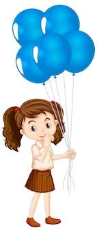 Одна счастливая девушка с голубыми воздушными шарами