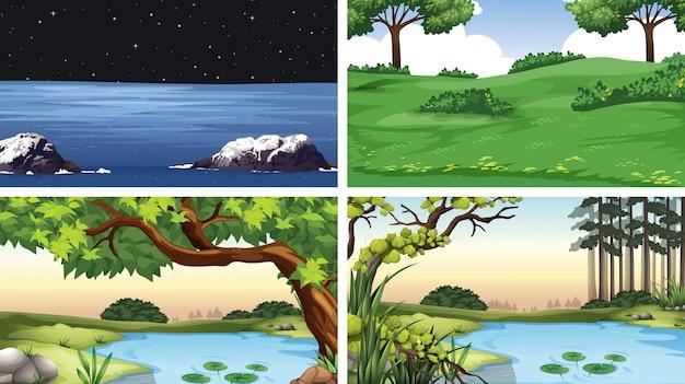 自然設定のシーンのセット