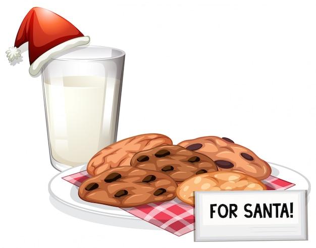 サンタ用の新鮮なミルクとチョコレートチップクッキー