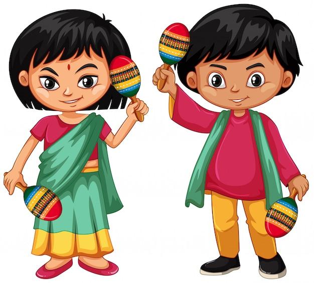 マラカスを保持しているインドの子供