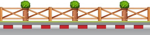 植物と道端のフェンス