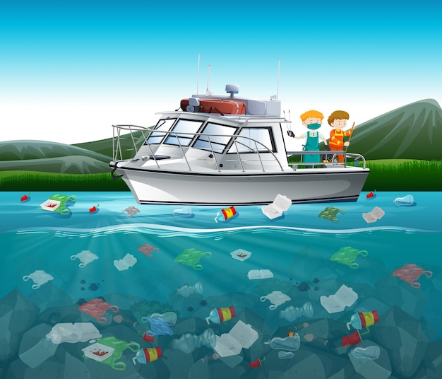 Загрязнение воды полиэтиленовыми пакетами в океане