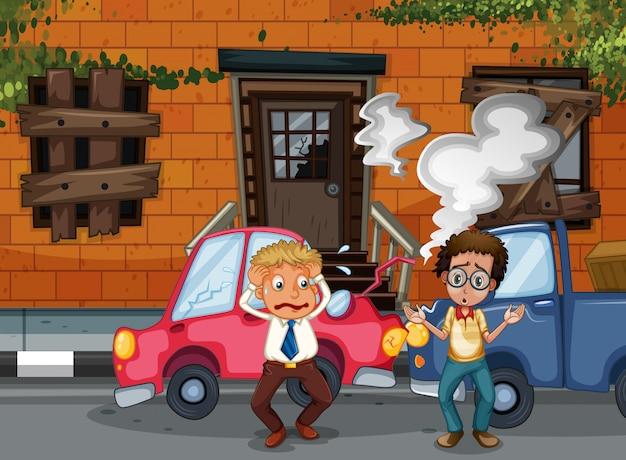 建物の前で自動車事故と事故シーン