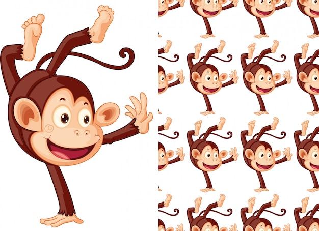 シームレスな猿動物パターン漫画