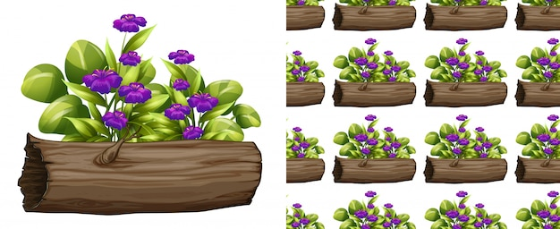 ログにシームレスな紫色の花