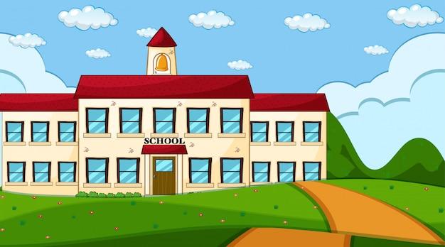 Сцена здания школы