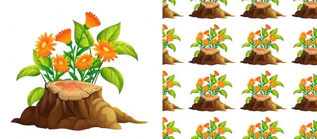 Бесшовные оранжевые цветы и пень