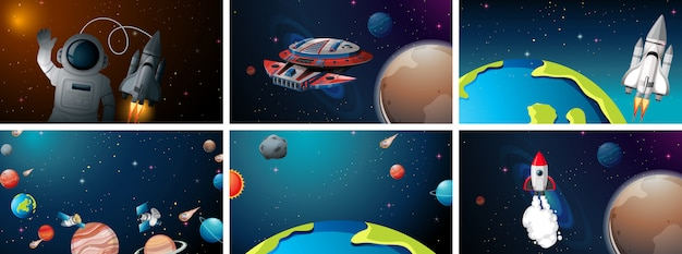 Набор космических сцен
