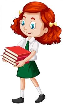 Одна счастливая девушка с книгами