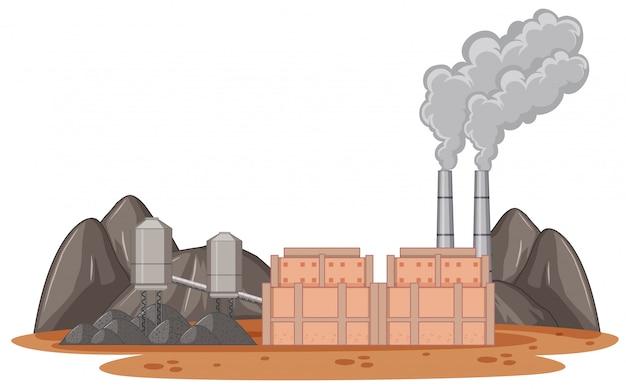 煙が出る工場ビル