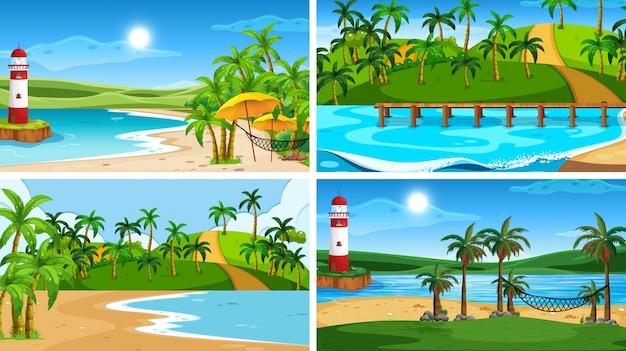 Множество тропических пейзажей с пляжами